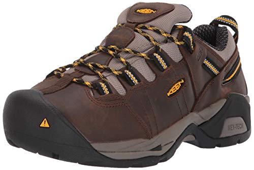 KEEN Utility Women's Detroit XT Low Steel Toe Metatarsal Guard Work Shoe, Cascade Brown/Goldenrod, 8.5 Wide US