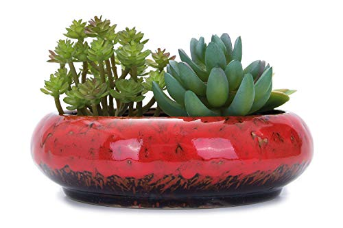 VanEnjoy 7.3 inch Round Large Shallow Succulent Ceramic Glazed Planter Pots with Drainage Hole, Bonsai Pots Garden Decorative Cactus Stand Flower Container (red)