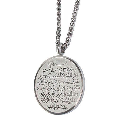 Islam Koran Ayatul Kursi Allah Edelstahl Anhänger Halskette Muslim Arabisch Gott Messager Schmuck