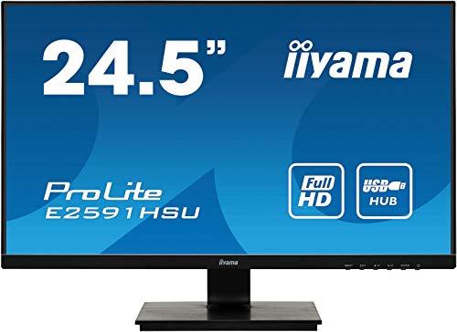 iiyama ProLite E2591HSU-B1 62,2cm (24.5Zoll) LED-Monitor Full-HD (VGA, HDMI, DisplayPort, USB2.0) schwarz