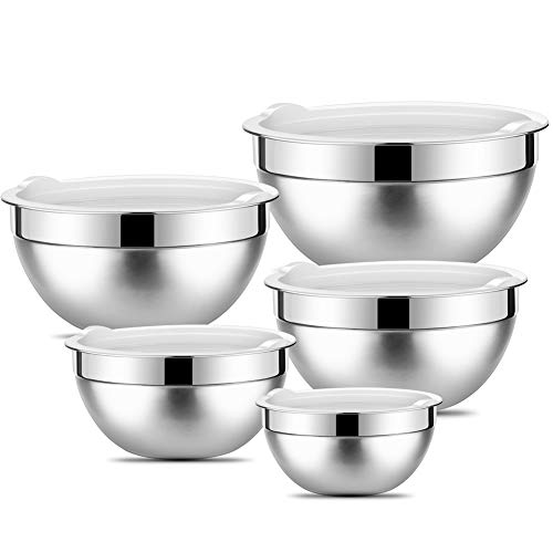 Stainless Steel Mixing Bowls with Lids by SONGNO Set of 5 Nesting Storage Bowls Polished Mirror Finish for Healthy Meal Mixing Cooking Supplies 15-26-34-42-71QT