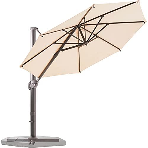 BLUU Redwood 11 FT Patio Umbrella Offset Cantilever Outdoor Umbrella Aluminum Market Hanging Umbrellas with 360° Rotation Device and Unlimited Tilting System & Cross Base (Beige)