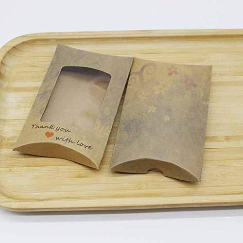 LEMON Regalos caja de almohada kraft flor piña impresa caja con ventana joyería artesanía caja de exhibición