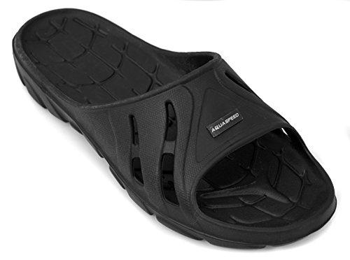 Aqua Speed Badeschuhe Herren   Duschsandalen schwarz   Badeschlappen rutschsicher   Dusche und Badeschuhe   Slide Sandals   Black   Gr. 42   Alabama