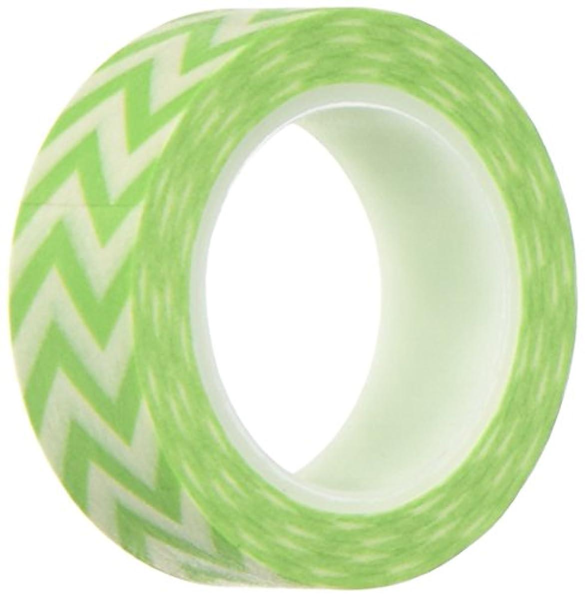 Wrapables Striped Japanese Washi Masking Tape, Lime Green Short Chevron