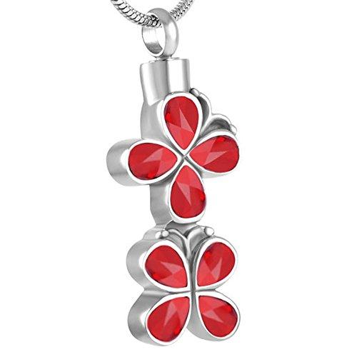TIANZXS Collar con Colgante de urna de cremación de Flores Multicolores, Perros, Gatos, Ceniza Conmemorativa, ataúd, encantos, Rojo