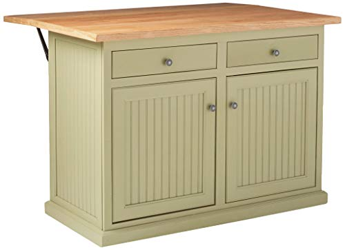 """Eagle Coastal Kitchen Island with Flip Up Top and Two Drawers, 51"""", Summer Sage Finish"""