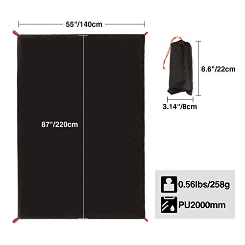 REDCAMP Ultralight Tent Footprint, PU 2000 Waterproof Camping Tent Tarp with Drawstring Carrying Bag for Ground Camping Hiking (55