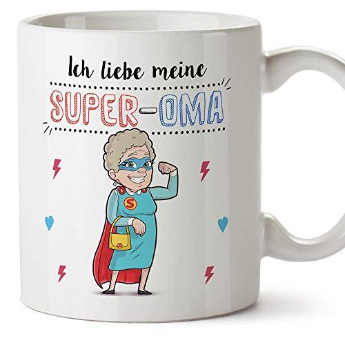 MUGFFINS Oma Tasse/Becher/Mug - Ich Liebe Meine Super-Oma - Schöne und lustige Kaffeetasse als Geschenkidee für Großmütter. Keramik 350 mL