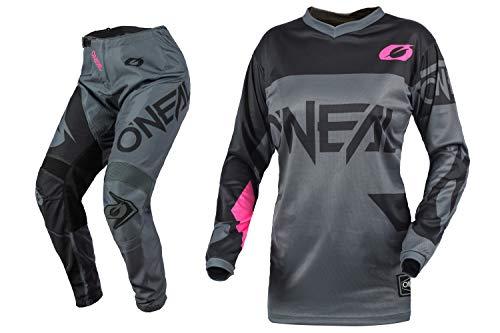 O'Neal Racing Womens Element Racewear Pink/Grey Motocross Dirt bike Offroad MX Jersey Pants Combo Package Riding Gear Set (Jersey Womens X-Large/Pants 11/12)
