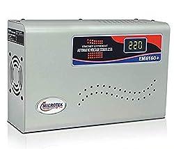 Microtek EM4160+ Automatic Voltage Stabilizer for AC up to 1.5 ton (160V-285V), Metallic Grey – Digital Display, Wall Mounted,Microtek,EM4160+
