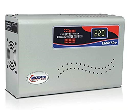 Microtek EM4160+ Automatic Voltage Stabilizer for AC up to 1.5 ton (160V-285V), Metallic Grey – Digital Display, Wall Mounted