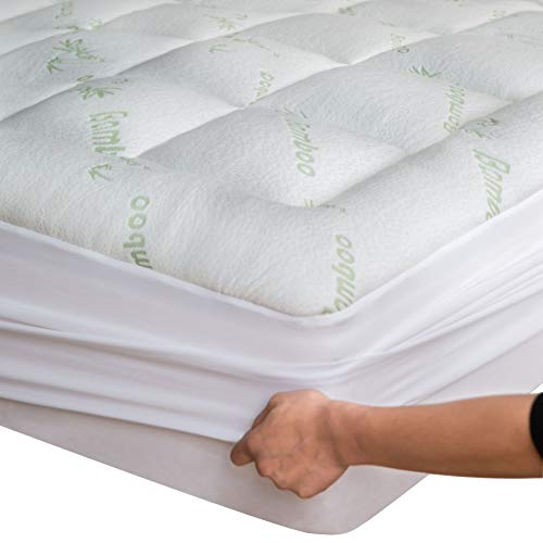 Bamboo Mattress Topper Cover Queen with 1 Pillow Protector Cooling Pillow Top Mattress Fits 8-20 Inches Deep Mattresses Pad Breathable Extra Plush Thick Extra Deep Fitted 20 Inches Rayon