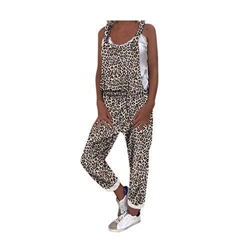 Latzhose Damen Leopard Latzhose Lässig Insgesamt Baggy Taschen Lange Harem Playsuit Hose Jumpsuits Overalls Casual Loose Overall Vintage Jumpsuit...
