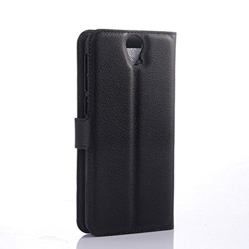 Premium Leather Wallet Case Cover with Stand Card Holder for HTC One E9 Plus / E9+ (2015) (Wallet - Black)