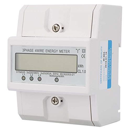 Energiezähler Energieverbrauch Digitaler Stromzähler 3 Phasen 4P 220 / 380V 20-80A KWh Zähler mit LCD