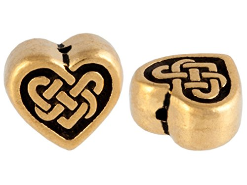 TierraCast Pewter Endless Knot Beads-GOLD CELTIC HEART (4)