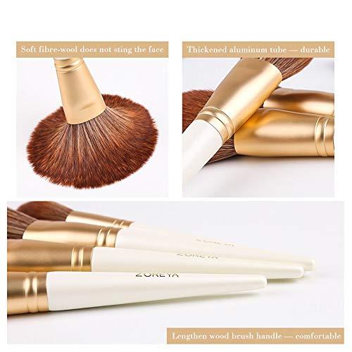 OEFHEIOWJO Maquillage Blanc Zoreya Marque Brosses Super Soft de fibres synthétiques surligneur Ombre à paupières poudre cosmétique Set pincel Maquiagem (Handle Color : 15pcs Without bag)
