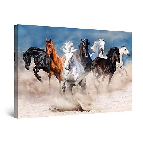 Startonight Bilder Pferde Laufen im Sand - Leinwandbilder Moderne Kunst - Tiere Wanddeko Kunstdrucke, Wandbilder XXL 80 x 120 cm, Tag Nacht Bild