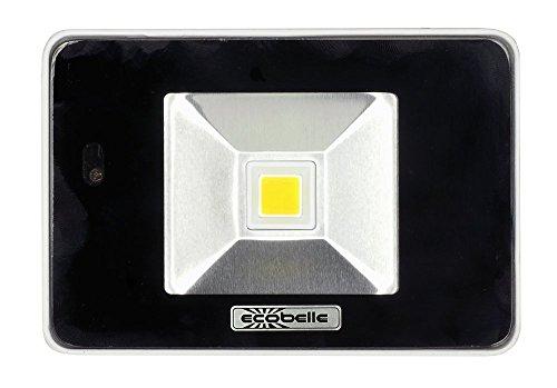 ECOBELLE Led-buitenspot, 10 W, neutraal wit, IP65, 900 lumen, 4000 K, schijnwerper, bouwspot, schijnwerper, tuinschijnwerper met bewegingsmelder/microgolvensensor + afstandsbediening