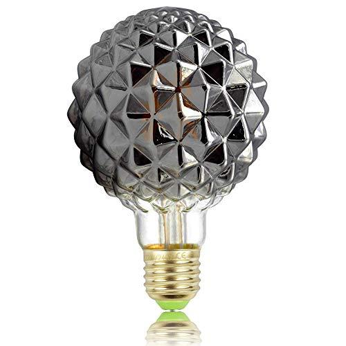 Tianfan Retro-Glühbirnen, LED-Glühfaden, Edison-Glühbirnen, 4W, Rauchglas, 220/240V, E27, Kristall, dekorative Glühbirnen Art Deco Ananas G95