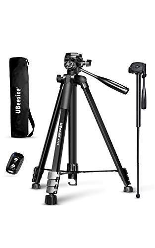 72-inch Camera Tripod, UBeesize Portable Aluminum Alloy Tripod & Monopod with Wireless Remote Shutter, Professional Travel Video Tripods with Carry Bag & Phone Holder for DSLR Cameras, Cell Phones.