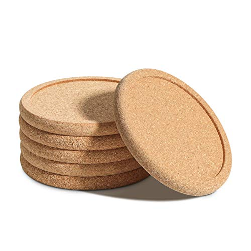 T4U 4 Inch Cork Plant Saucer Round Set of 6, Cork Mat Drainage Tray for Succulent Cactus Flower Pot, Cork Wood Drip Pads Plates for Indoor Table Desk Windowsill Clean Solution DIY Craft Project