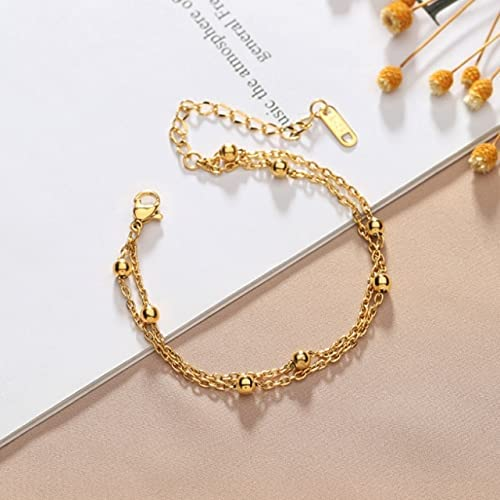 TranTran NTP 316L Stainless Steel 2021Upscale Jewelry Minimalism Casual 2 Layer Beaded Charm Chain Bracelets Bangles For women