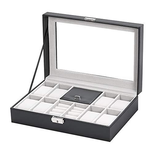 NEX - Scatola porta orologi in pelle, elegante, per uomo e donna, per gioielli, bracciali, collane e Acciaio inossidabile, colore: Aa001, cod. AA001
