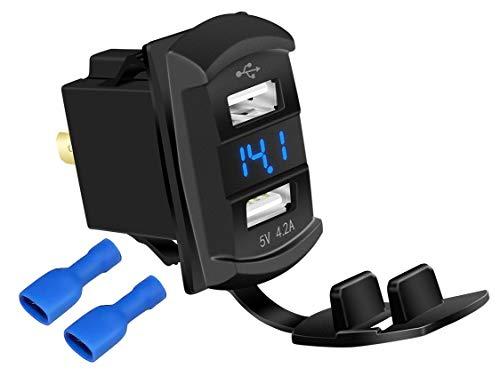 DaierTek 4.2A Rocker Dual USB Car Charger Adapter Socket Waterproof Blue Led Digital Voltmeter for Rocker Marine Switch Panel on Boat RV Vehicle