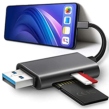 SD Card Reader for iPhone,iPad and PCs,MicroSD/SD Card Reader with USB Connector,Trail Camera SLR Camera SD Card Reader,Plug and Play