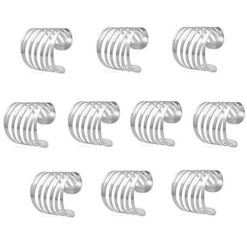 ZHQHYQHHX 10 anillos de servilleta de boda con diseño de espalda para decoración de mesa, diseño de servilleta familiar (color: plata, tamaño: 10 unidades)