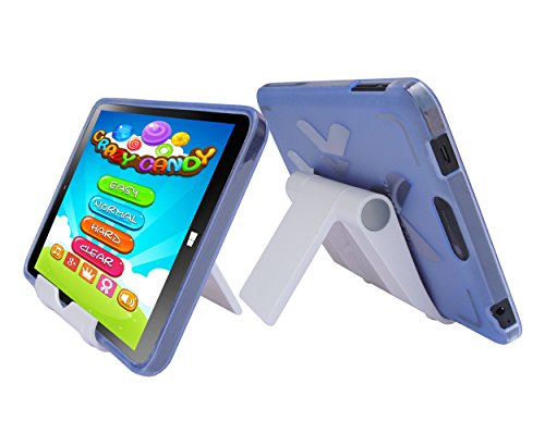 Light Blue TPU Rubber Cover Case and Multi-Angle View Stand Holder for DigiLand DL808W 8' Windows 10 Tablet