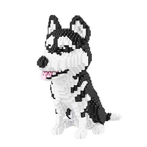 SXPC Husky Sibirischer Hund Tier Modell 3D 1900 Stück DIY Diamant Mini Gebäude Nano Ziegel Block zusammengebaut Spielzeug