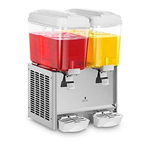 Royal Catering Distributeur à jus fontaine boissons réfrigérées RCSD-36C (deux cuves d'une contenance totale de 36 litres, jusqu'à 12 heures d'utilisation, sans BPA)