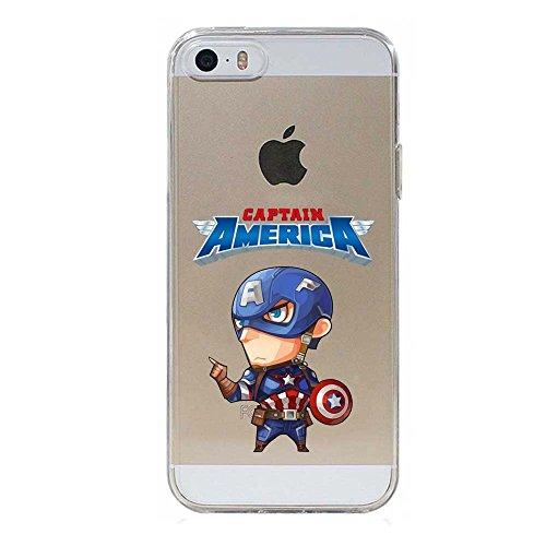 SLIDE Cover in TPU Gel Trasparente Custodia Protettiva Collection, Baby Hero Collection, Capitan America, iPhone 5 5S SE