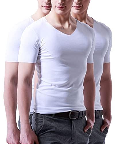 メンズ インナー クール ドライ シームレス Vネック シャツ ストレッチ 冷感 吸汗 速乾 男性 肌着 下着 3枚組 タンクトップ ルームウェア アンダーウェア 大きいサイズ 大きめ 夏 インナーシャツ 半袖 5枚組 切りっぱなし Tシャツ 抗菌防臭 3枚セット ワイドショルダー フィットネス スポーツ コンプレッションウェア トレーニングウェア ベスト スパンデックス ホワイト 2XL