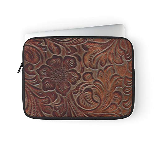 Country Cowboy Tooled Saddle Leather Cowgirl Tooling Western Laptop Sleeve Bag Compatible with MacBook Pro, MacBook Air, Notebook Computer, Water Repelle