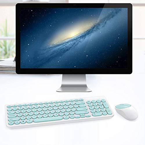Teclado Bluetooth Universal Teclado InaláMbrico Redondo Punk Ik6630 con Un Microinterruptor Silencioso Juego de Mouse InaláMbrico PortáTil con Ahorro de EnergíA para TeléFono Inteligente(Verde)