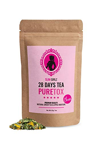 Slim Girlz D-tox Tea 28 Days | Té desintoxicante Para Mujeres|Té de dieta y para pérdida de grasa|Hoja suelta 85g|Suplemento Dietético Natural Sin Aditivos Para Pérdida de Peso|Complejo Herbal Activo