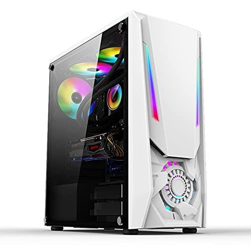 WSNBB Estuche ATX Estuche para Juegos De Torre Media, Estuche ATX para Juegos RGB Lateral Refrigerado por Agua, Soporte para Placa Base ATX, Viene con Barra De Luz De Siete Colores