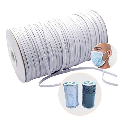 HomyBasic 100 Yard White Elastic String for Face Mask 1/4 inch, 6mm ; Premium Flat Elastic Band, Strap, Cord, Rope for Kids Masks, Ear Loop, Sewing, Craft
