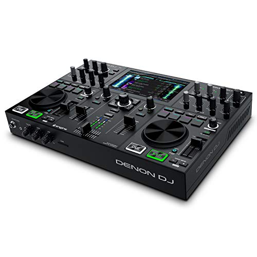 Denon DJ PRIME GO – Tragbares DJ Set/Smart DJ-Konsole mit 2 Decks, WLAN- Streaming, 7-Zoll HD-Touchscreen und wiederaufladbarer Batterie