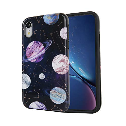 Marble iPhone XR Glitter Case 2018, Shining Rose Gold Constellation Astrology Zodiac PC Hard Back Cover and Soft TPU Shockproof Lining Hybrid Protective Case