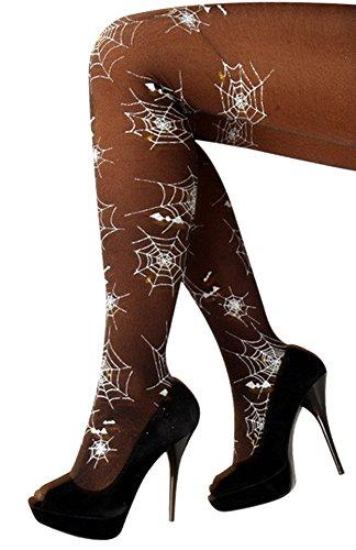 krautwear PartyXplosion Damen Strumpfhose Panty mit Spinnen Spinnennetz Musterung Fasching Karneval Halloween Kostüm Outfit Zubehör Cosplay
