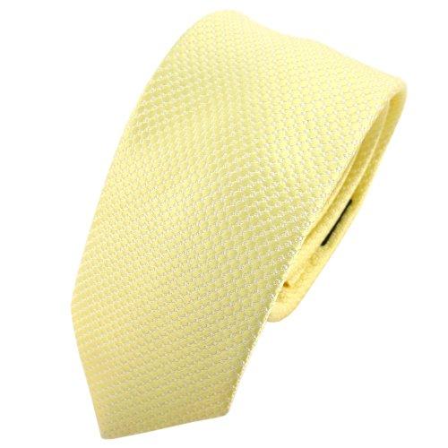 TigerTie - schmale Designer Seidenkrawatte in gelb blassgelb silber gepunktet