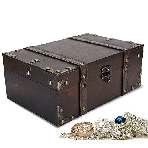 Cimenn Vintage Wooden Storage Box - Decorative Treasure Jewelry Chest with Lock Home Decoration Chest Box Case Holder Jewelry Gift Box for Jewelry Necklace Earrings Storage (04)