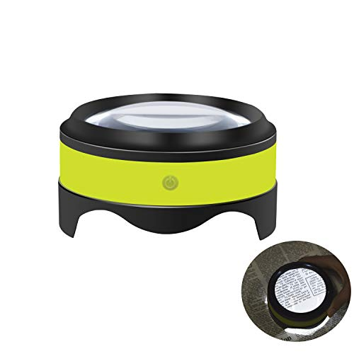 Magnifier, Rechargeable Dylviw 3X-5X Desktop Magnifying Glass, Large View Area Adjustable LED Lights, Ideal for Reading, Blueprints, Hobbies-Carrying Case Included