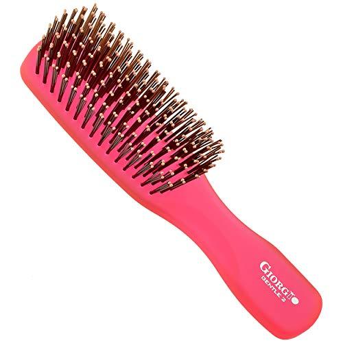 Giorgio GION2R Neon Red 6.25 inch Gentle Touch Detangler Hair Brush for Men Women & Kids. Soft Bristles for Sensitive Scalp. Wet and Dry for all Hair Types. Scalp Massager Brush Stimulate Hair Growth