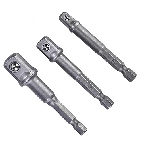 Lixiaonmkop 3 teile/satz Sockel Bit Adapter 1/4 In SEX SHANK ZU 1/4IN 3 / 8IN 1/2In Quadratische Kopf Bohrer Treiberbuchse Adapter Set Hohe Qualität (Color : Silver)